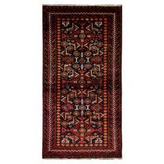 Vintage Tribal Area Rug, Handwoven Afghanistan Red Wool Carpet