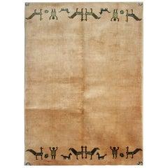 Vintage Tribal Art Deco Chinese Rug, Beige Minimalist Livingroom Rug