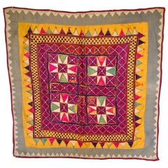 Vintage Tribal Banjara Embroidered Chaakla with Mirrors, Wall Hanging, India