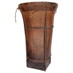 Vintage Tribal Carrying Basket from Ata Pue, Laos, Mid-20th Century