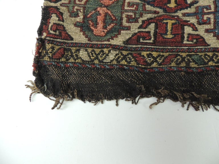 Turkish Vintage Tribal Design Kilim Rug Fragment For Sale