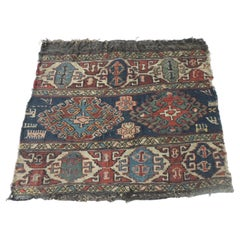 Vintage Red and Blue Tribal Design Kilim Rug/Grain Sack Fragment