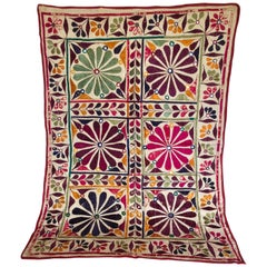 Vintage Tribal Embroidery Panel with Mirrors from South Gujarat, India