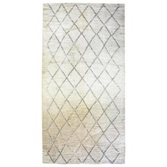 Vintage Tribal Hand Knotted Natural Wool Moroccan Area Rug