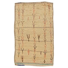 Vintage Tribal Hand-Woven Moroccan Natural Wool Rug in Cream, Beige, Rust, Black