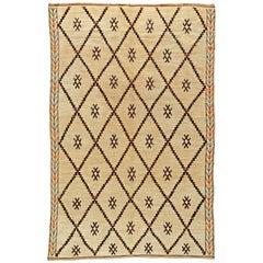 Vintage Tribal Handmade Moroccan Natural Wool Rug with Geometric Design