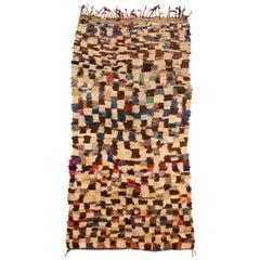 Vintage Tribal Handmade Moroccan Rug in Cream, Brown, Red, Purple, Green, Yellow