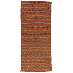 Vintage Tribal Handmade Moroccan Rug in Terracotta, Violet, and Ivory