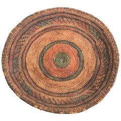 Vintage Tribal Handwoven Ethnic Round African Basket
