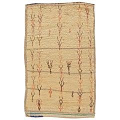 Vintage Tribal Handwoven Moroccan Natural Wool Rug in Cream, Beige, Rust, Black