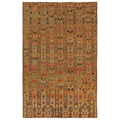 Vintage Tribal Handwoven Moroccan Natural Wool Rug with Geometric Design