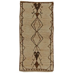 Vintage Tribal Handwoven Moroccan Natural Wool Rug with Geometric Design in Tan
