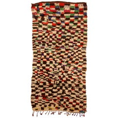 Vintage Tribal Handwoven Moroccan Rug in Cream, Brown, Red, Green, Yellow, Blue
