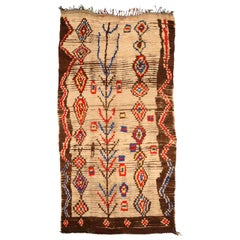 Vintage Tribal Handwoven Moroccan Rug in Cream, Brown, Red, Yellow, and Blue