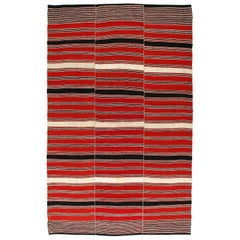 Vintage Tribal Mid-Century Modern Persian Flat-Weave Rug