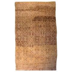 Vintage Tribal Moroccan Handmade Wool Rug in Shades of Beige, Brown, and Gold