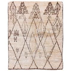 Vintage Tribal Moroccan Natural Wool Rug