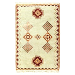 Vintage Tribal Moroccan Natural Wool Rug with Caramel and Brown Geometric Design