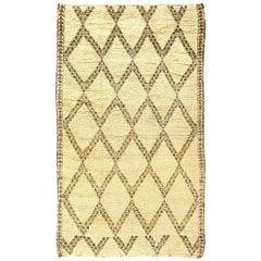 Vintage Tribal Moroccan Natural Wool Rug with Diamond Design