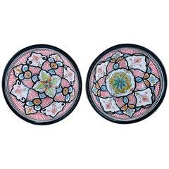 Vintage Tribal Moroccan Pottery Serving or Decorative Bowls, Set of 2