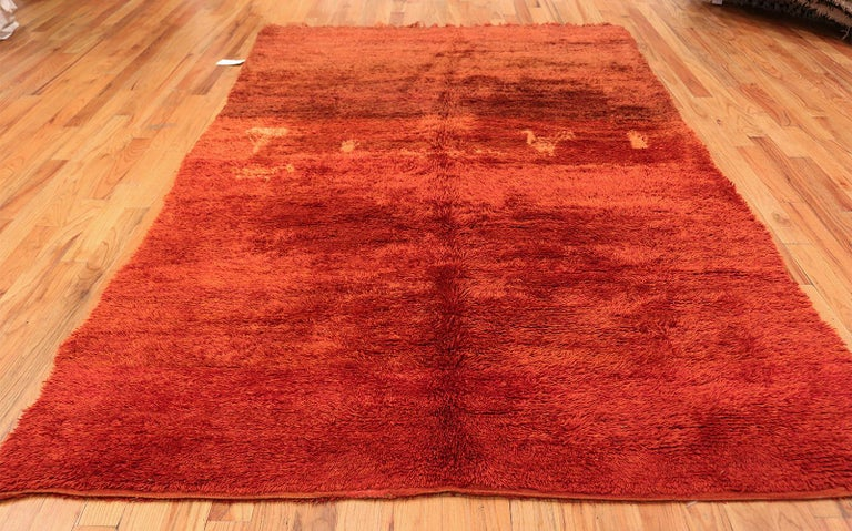 Magnificent Plush Vintage Tribal Berber Moroccan Rug, Country of Origin / Rug Type: Morocco, Circa Date: Mid – 20th Century. Size: 6 ft 3 in x 10 ft 6 in (1.9 m x 3.2 m)  There is something unique and special about mid 20th century vintage Moroccan