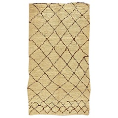 Vintage Tribal Moroccan Wool Rug in Natural Shades of Beige and Brown