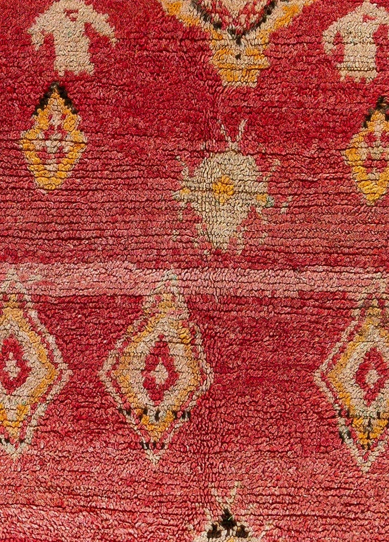 Vintage Tribal Moroccan wool rug in red, orange, beige, and black Size: 5'1