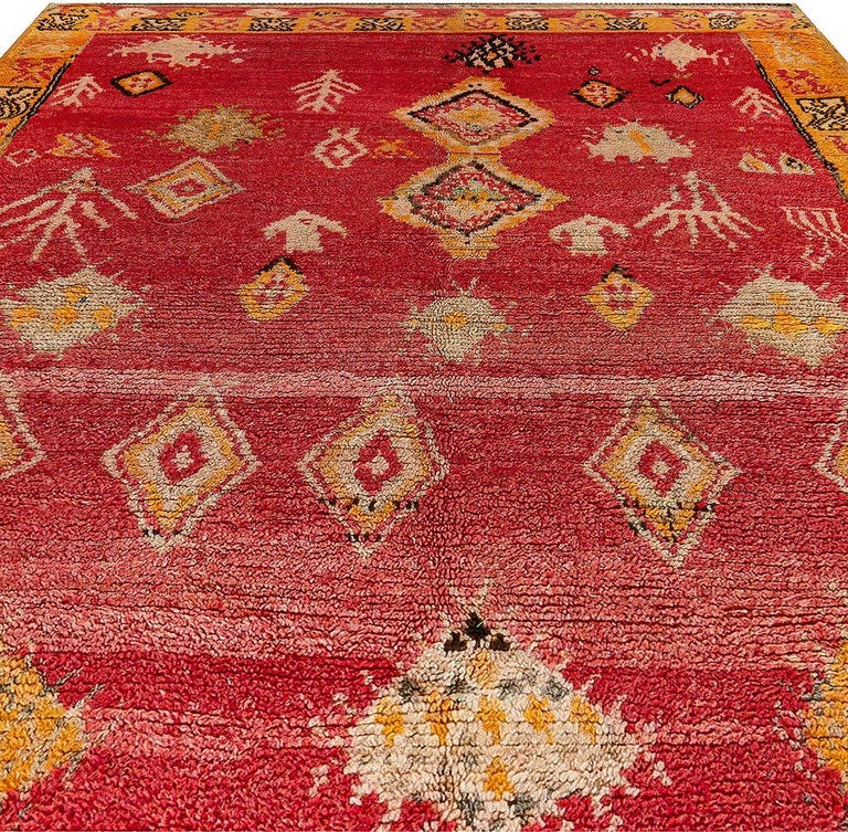 Hand-Woven Vintage Tribal Moroccan Wool Rug in Red, Orange, Beige, and Black For Sale