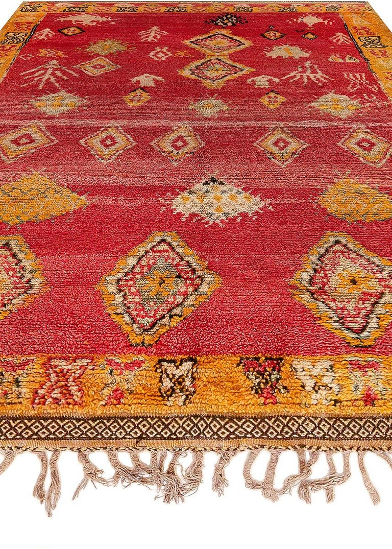 Vintage Tribal Moroccan Wool Rug in Red, Orange, Beige, and Black In Good Condition For Sale In New York, NY