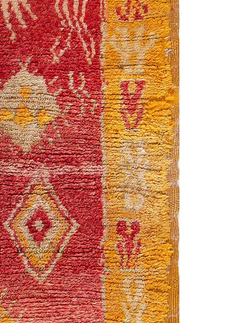 Late 20th Century Vintage Tribal Moroccan Wool Rug in Red, Orange, Beige, and Black For Sale