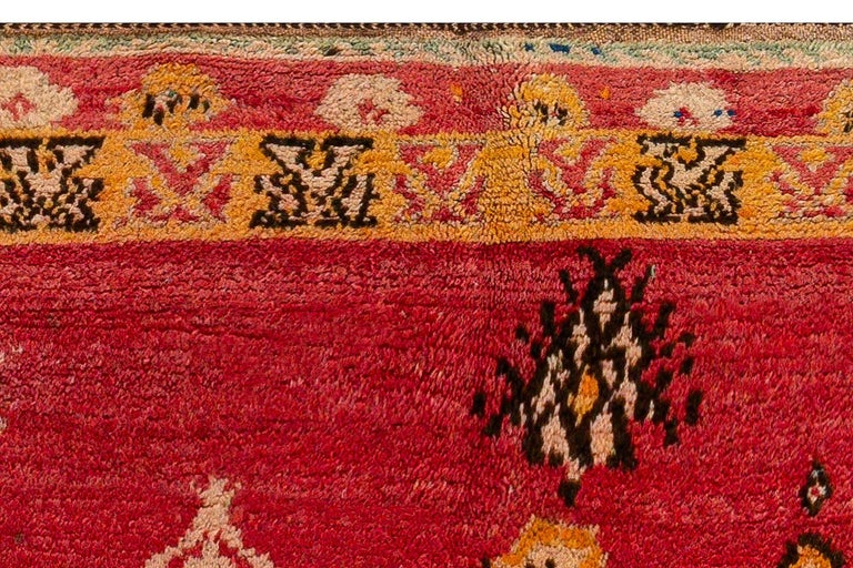 Vintage Tribal Moroccan Wool Rug in Red, Orange, Beige, and Black For Sale 1