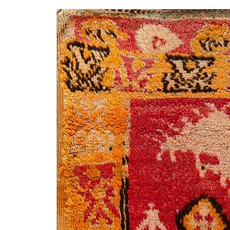 Vintage Tribal Moroccan Wool Rug in Red, Orange, Beige, and Black For Sale 2