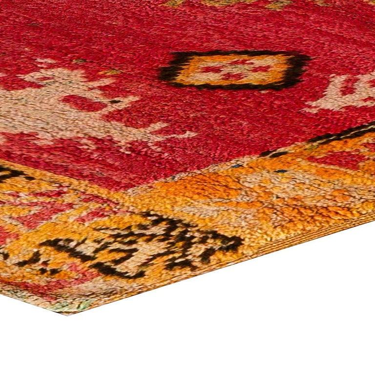 Vintage Tribal Moroccan Wool Rug in Red, Orange, Beige, and Black For Sale 3