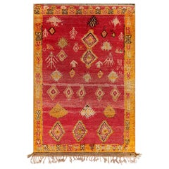 Vintage Tribal Moroccan Wool Rug in Red, Orange, Beige, and Black