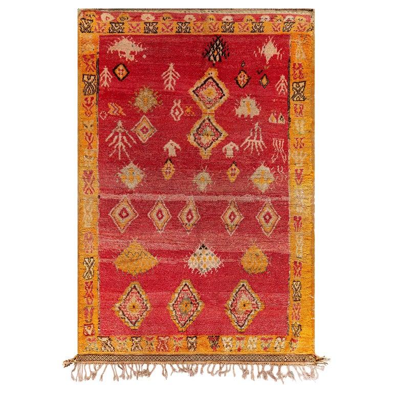 Vintage Tribal Moroccan Wool Rug in Red, Orange, Beige, and Black For Sale