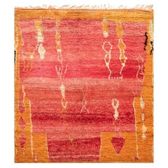 Vintage Tribal Moroccan Wool Rug in Shades of Red, Orange, and Cream