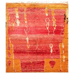 Vintage Tribal Moroccan Wool Rug in Shades of Red, Orange, and Ivory