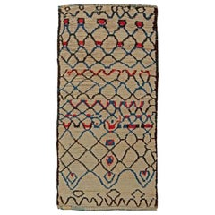 Vintage Tribal Moroccan Wool Rug with Beige Background and Blue, Red, and Black