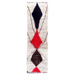 Vintage Tribal Moroccan Wool Rug with Geometric Design in White Red Blue & Black