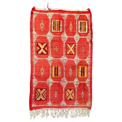 Vintage Tribal Red or Pink Moroccan Rug or Carpet