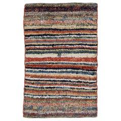 Vintage Tribal Rug with Polychrome Stripes