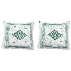 Vintage Tribal White and Green Wedding Pillow, a Pair