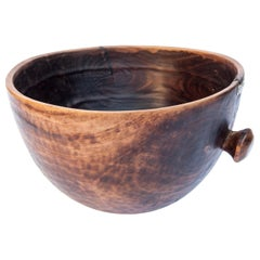 Vintage Tribal Wooden Bowl, Handhewn with Handle, West Africa, Mid-20th Century