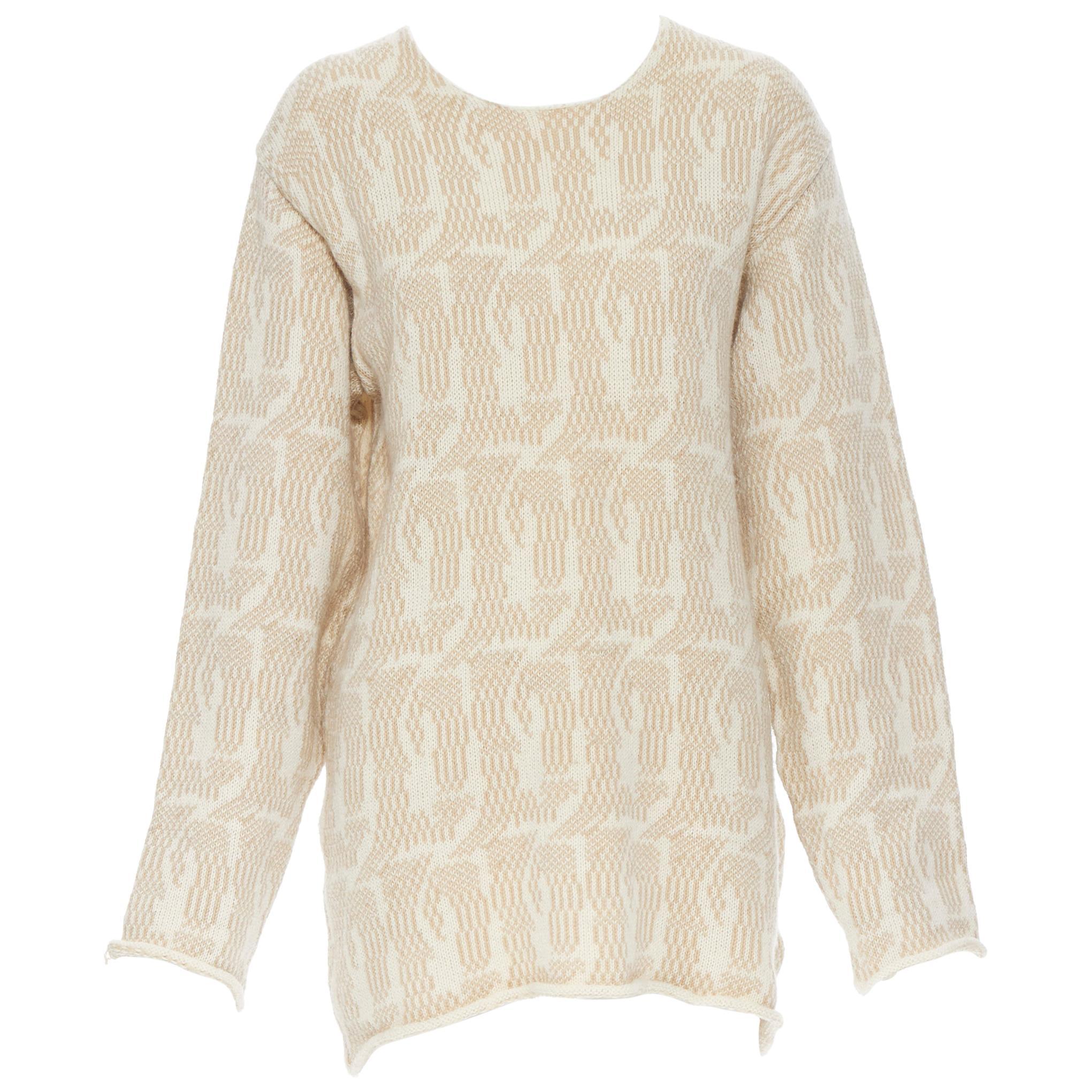 vintage TRICOT COMME DES GARCONS 1980's beige patterned rolled hem sweater