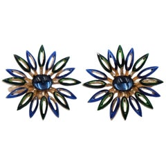 Vintage Trifari Blue Enamel Earrings With Rhinestones 1960's