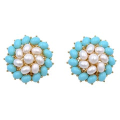 Vintage Trifari Blue White Earrings 1960s