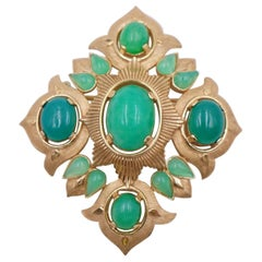 Vintage Trifari Brooch with Green Cabochons 1960s
