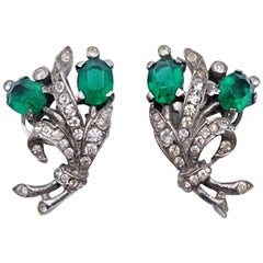 Vintage Trifari Earrings Faux Emeralds