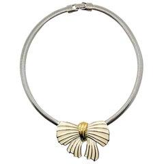 Vintage Trifari Enamel & Silver Bow Necklace 1990s