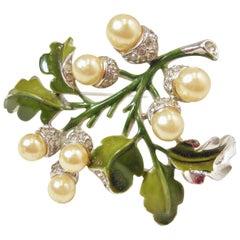 Vintage Trifari Faux Pearl, Crystal & Enamel Floral Brooch